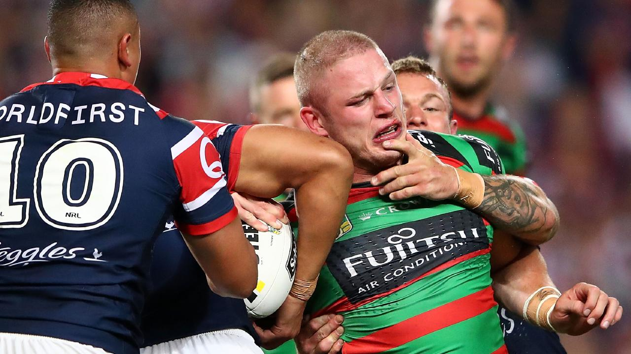 SYDNEY, AUSTRALIA - SEPTEMBER 22: George Burgess of the Rabbitohs is tackled during the NRL Preliminary Final match between the Sydney Roosters and the South Sydney Rabbitohs at Allianz Stadium on September 22, 2018 in Sydney, Australia. (Photo by Cameron Spencer/Getty Images)