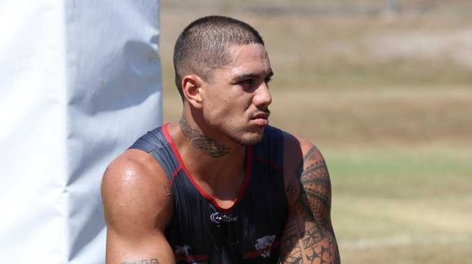 Redcliffe Dolphins during pre season training day. Myles Taueli. Photo: Jon Sloan.