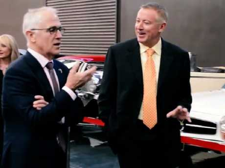 Former Prime Minister Malcolm Turnbull with Tony Denny at the millionaire property developer's Gosford Classic Car Museum where Mr Turnbull celebrated his 62nd birthday.