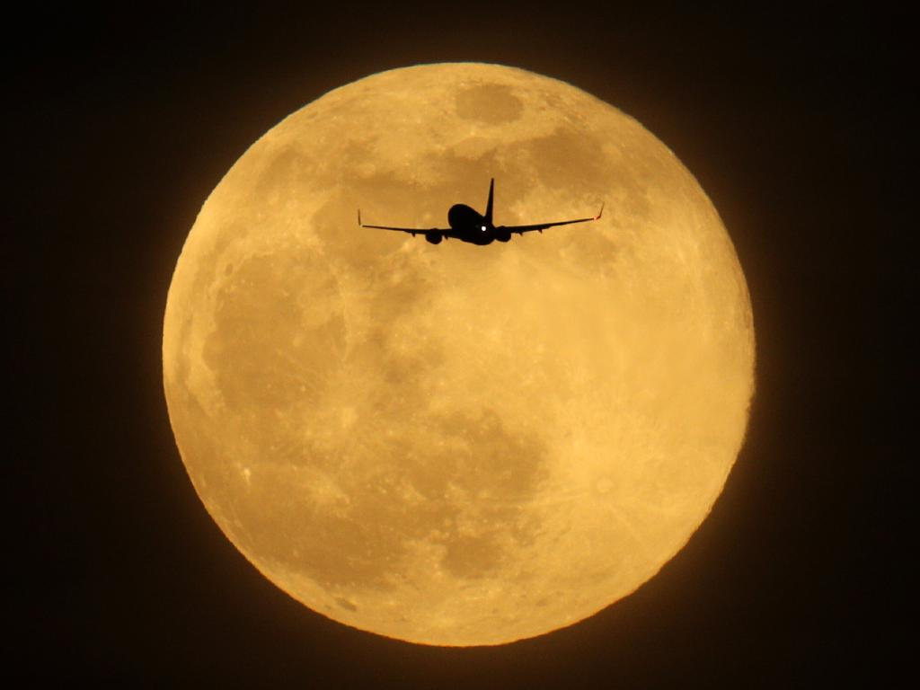 A plane flies in the sky in front of the largest Supermoon of 2019 on February 19, 2019 in London, England. Picture: Dan Kitwood