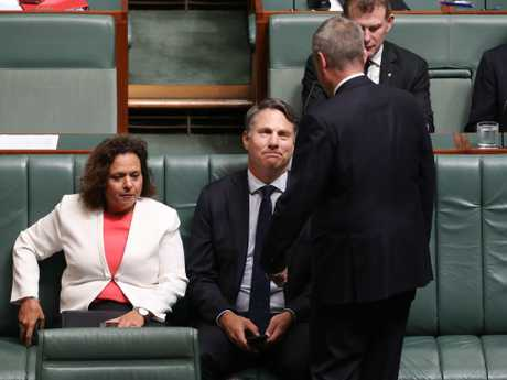Richard Marles with Bill Shorten during Question Time in the House of Representatives. Picture: Gary Ramage