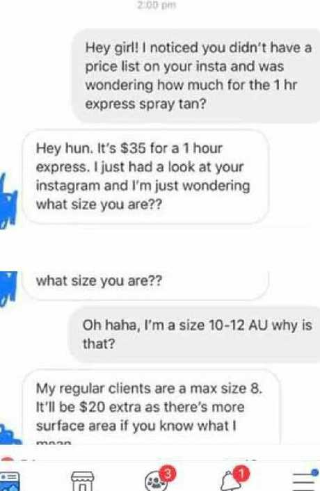 The exchange of messages between the client and spray tanner was uploaded to Facebook.