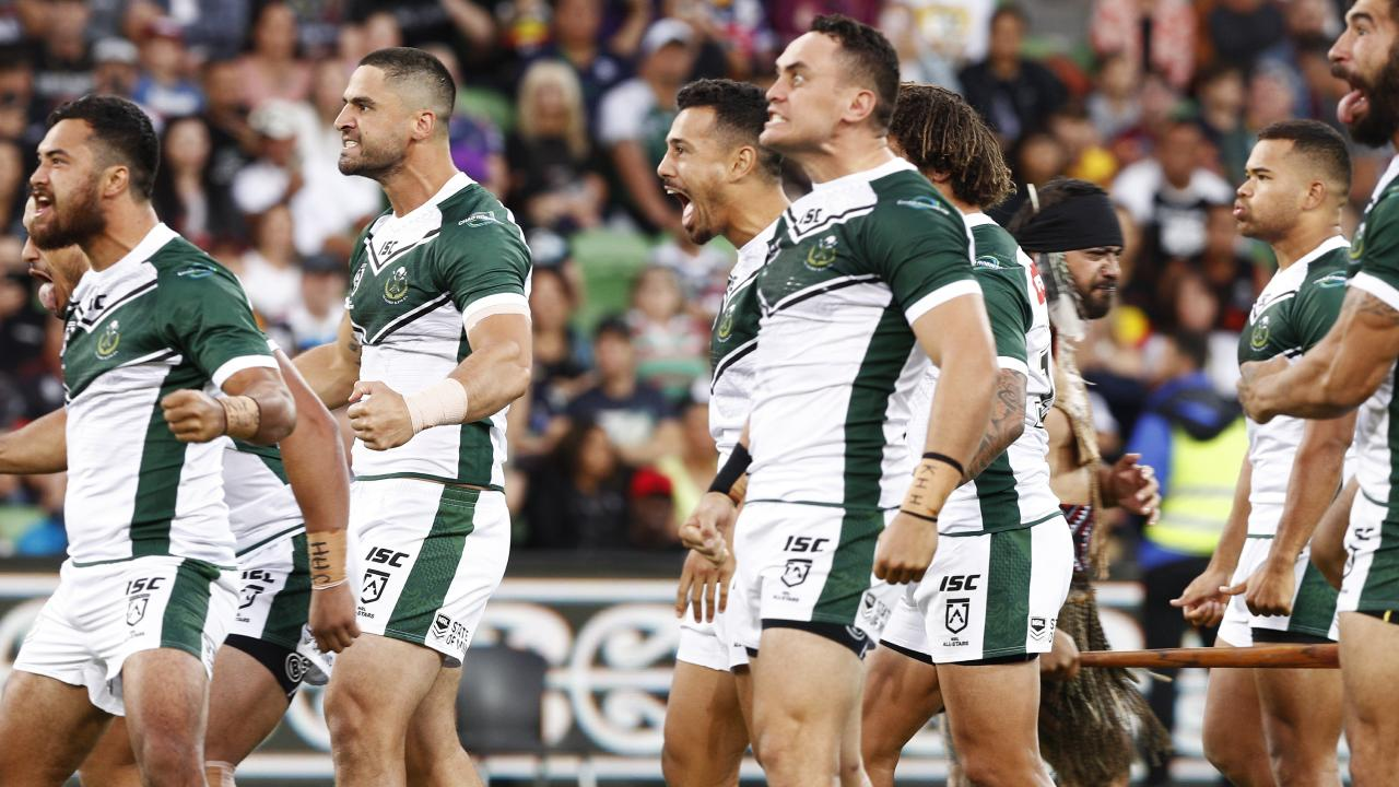 Maori players perform a traditional war cry during the NRL Indigenous All-Stars vs Maori All Stars match at AAMI Park, Melbourne last week. Picture: Daniel Pockett/AAP