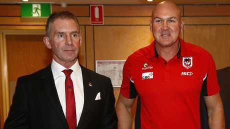 Dragons chief executive Brian Johnston, pictured with coach Paul McGregor, has explained the club's stance on De Belin. Picture: John Appleyard