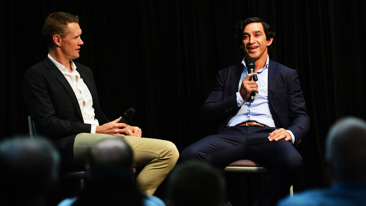 Johnathan Thurston speaks with Cowboys COO Michael Luck at an exclusive event hosted by the Townsville Bulletin at the Townsville Entertainment and Convention Centre. Picture: Zak Simmonds