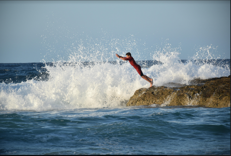 Leap of faith at Snapper Rocks on the Gold Coast.