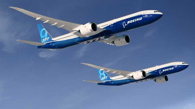 The Boeing 777-9X aircraft, with the Boeing 777-8X in the background.
