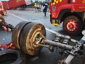 Truck crash closes highway lanes