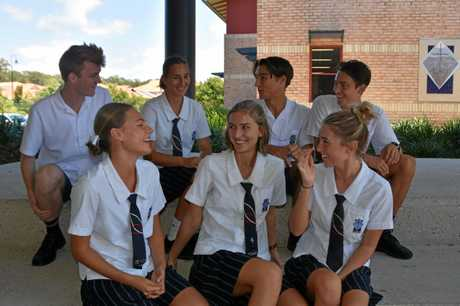 St Andrew's Year 12 students (front) Riley Mackeown, Maddie Seelhofer, Emily Harper, (back) Sam Young, Lucie Tolhoek, Reid Peebles and Ewan Bell discuss the school year ahead and their future aspirations.