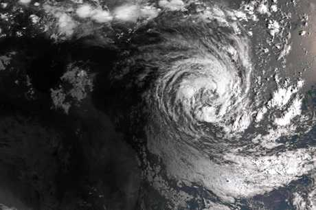 A supplied satellite view taken on Monday, February 18, 2019, of Cyclone Oma seen off the coast of Queensland.