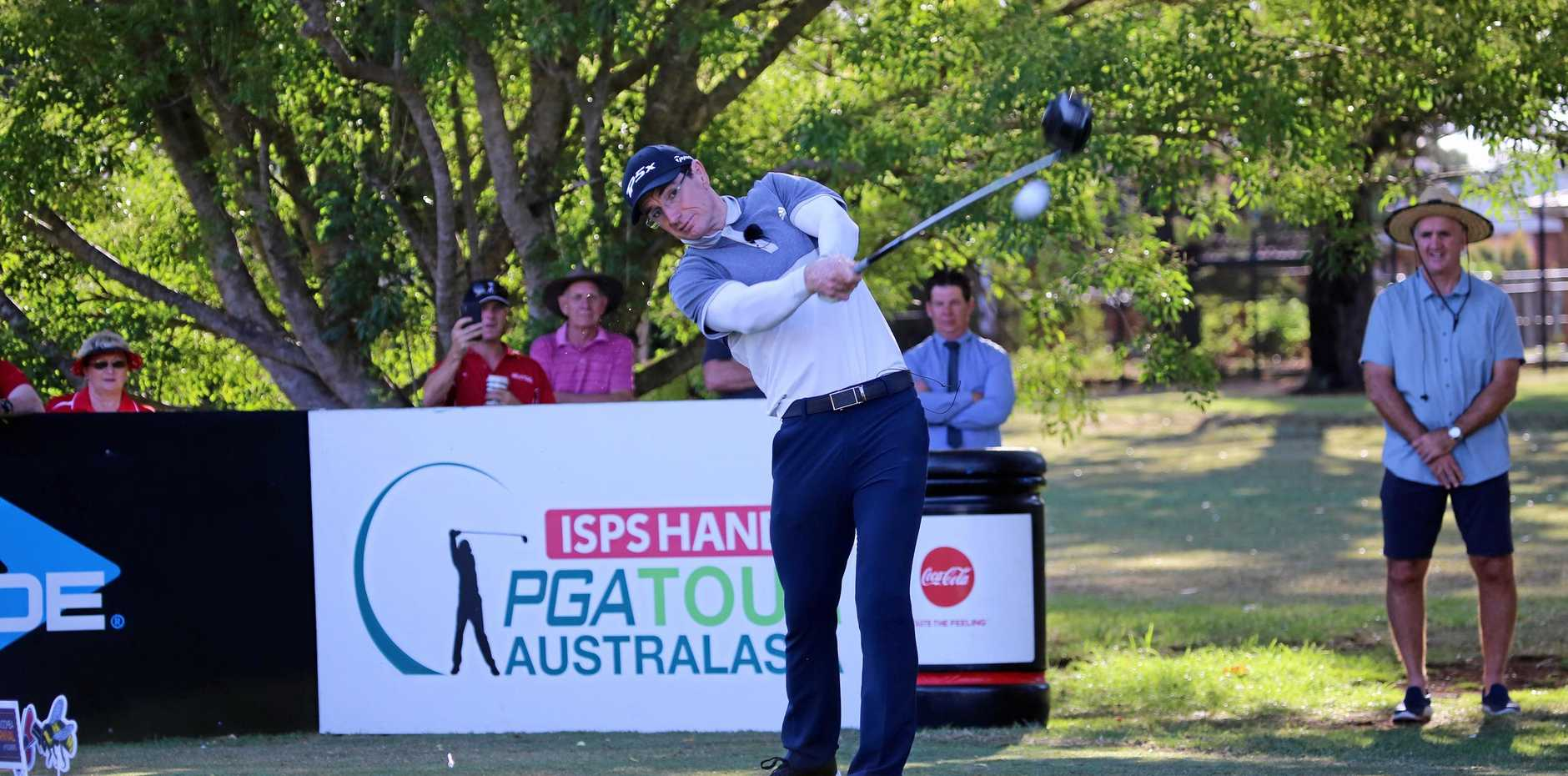 Ben Ikin hits his drive off the 10th tee on day one of the 2019 Queensland PGA Championship.