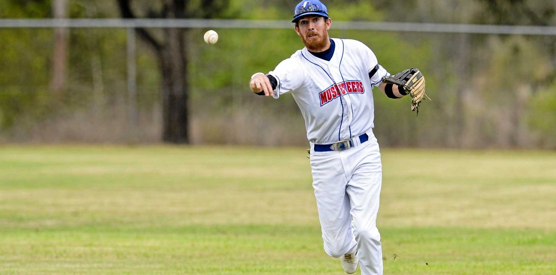 Ipswich Musketeers v Redlands Rays GBL Baseball. Ipswich's Wade Dutton.