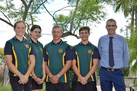James Nash High School Year 11 ATAR students Dillyn Blackburn, Ava Barry, Joseph Greer and Eli Hall (with principal Jackson Dodd) are enthusiastic about the next step in their academic journey. Gympie region schools have punched way above their weight to make this the best performing regional centre in Queensland when it comes to OP results.