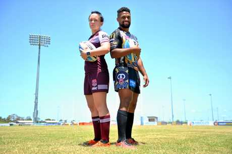 STARRING ROLES: Brittany Breayley and Jayden Hodges at BB Print Stadium for the announcement of a three-year partnership between BHP and the QRL.
