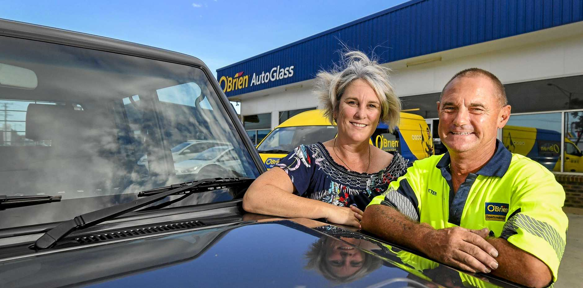Peter Barb from O'Brien Glass Gladstone was replacing Kelly-Anne Lucey's windscreen when she began to feel ill, with Peter calling an ambulance and staying with her to keep her calm.