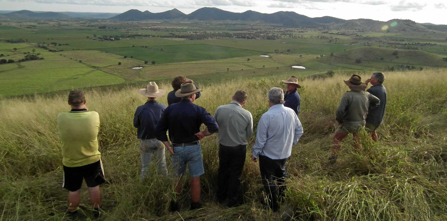 JUST ADD WATER: Coalstoun Lakes farmers with Member for Flynn Ken O'Dowd look down on the valley that would benefit from a regular supply of water.