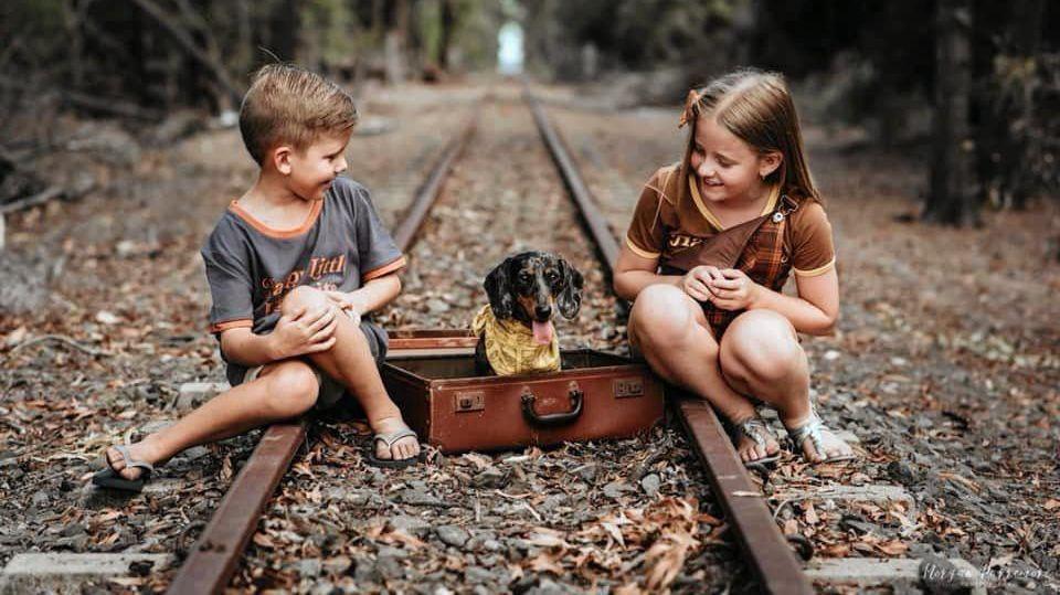 Morgan Depasquale Jarman: Byron, mini dachshund Lacey and D'lila.
