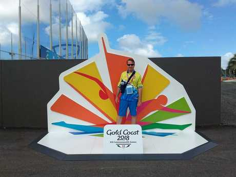 Tim Huddleston from Murgon arrives at the Gold Coast Commonwealth Games, ready to volunteer.
