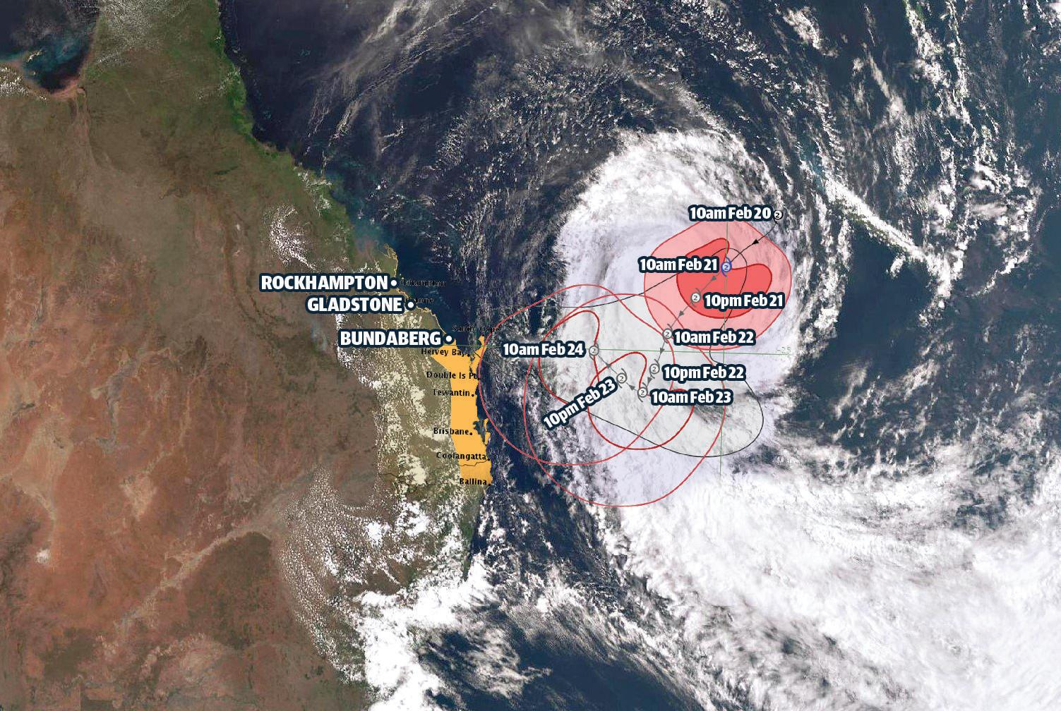 Bureau of Meteorology satellite image shows cyclone Oma moving towards the Queensland coast on Thursday.