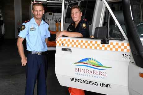 SES Bundaberg local controller Kieran Galey and deputy local controller Narelle Field.