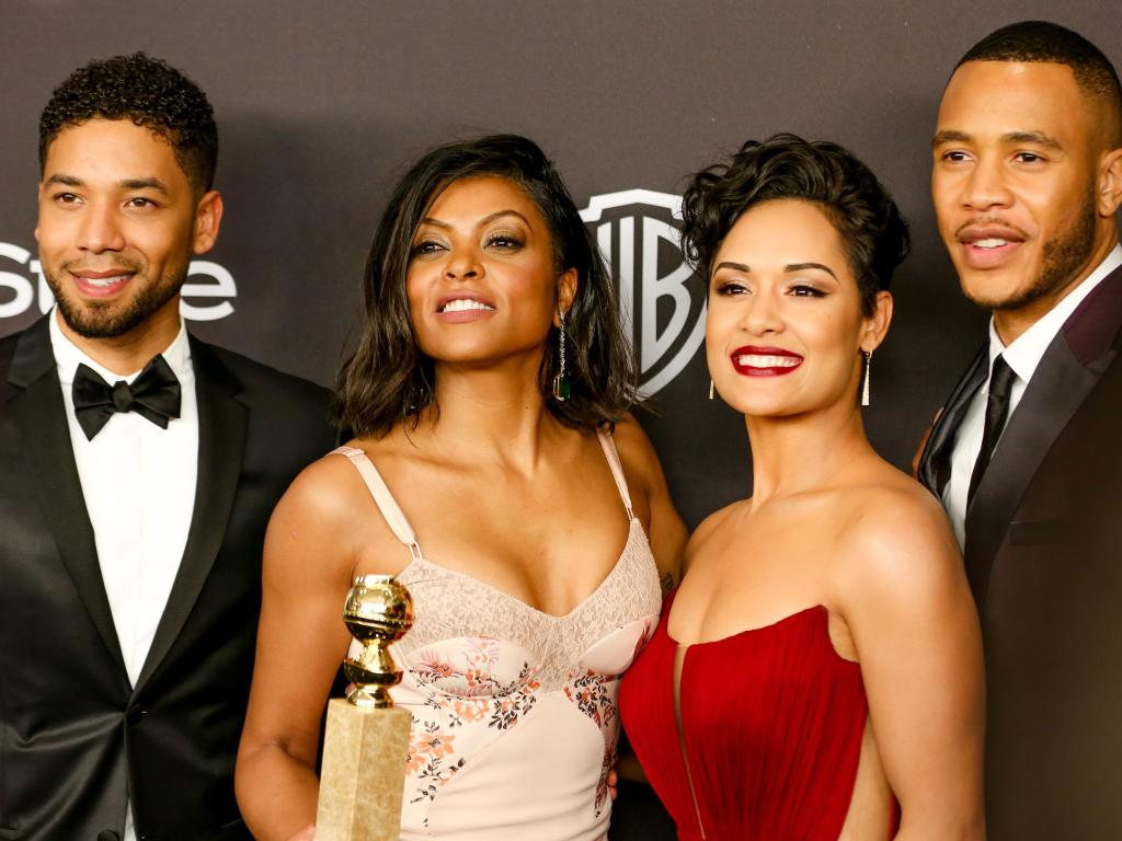Jussie Smollett, left, with his Empire co-stars Taraji P. Henson, Grace Gealey and Trai Byers. Picture: Splash