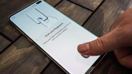 Samsung Galaxy S10 smartphones have a fingerprint sensor in the screen. Picture: Jennifer Dudley-Nicholson/ News Corp Australia