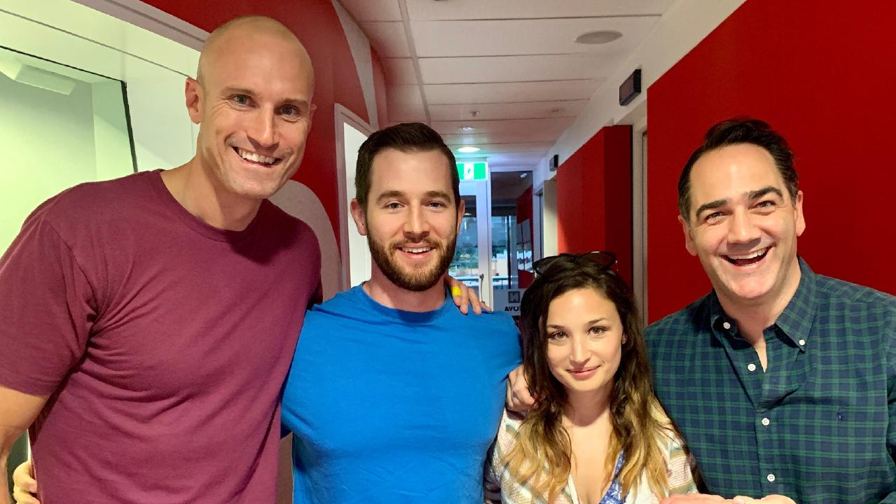 Matthew and new girlfriend Annabelle with radio hosts Fitzy and Wippa.