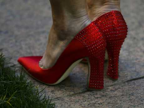 The now-famous red shoes Ms Bishop wore on the day of the leadership ballot. Picture: Lukas Coch/AAP