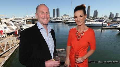 Darren Wick with Nine newsreader Wendy Kingston. Picture: Lyndon Mechielsen/The Australian