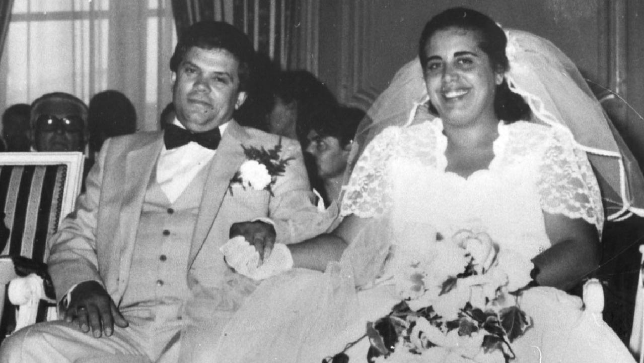 Domenic Marafiote with his wife Anna on their wedding day.