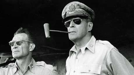US General Douglas MacArthur (right) was in charge of Australian troops during World War II. Picture: AP