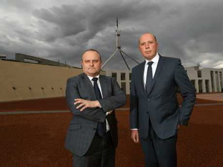 Home Affairs Minister Peter Dutton (right) and Victorian MP Jason Wood. Picture: Gary Ramage