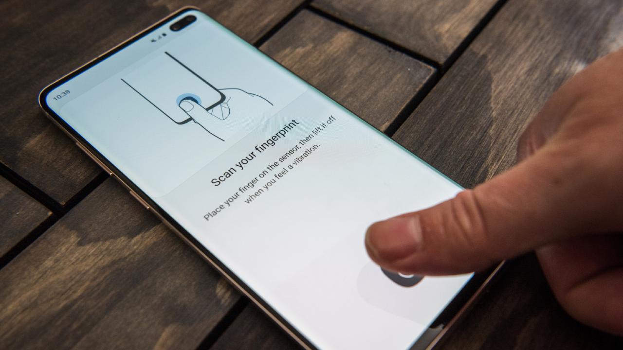 Samsung Galaxy S10 smartphones have a fingerprint sensor in the screen. Picture: Jennifer Dudley-Nicholson/ News Corp Australia