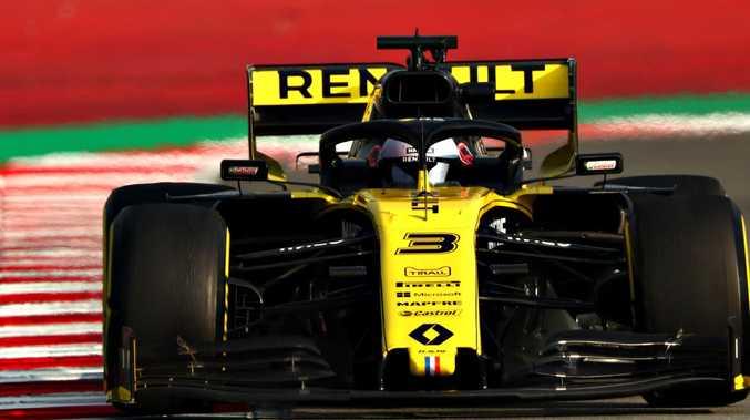 Daniel Ricciardo shows off the speed of the Renault in Barcelona.