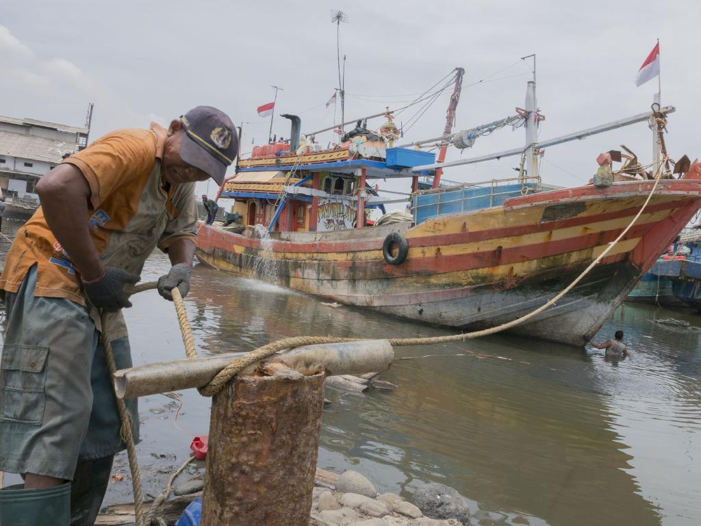 Boats in the port of Tegal, the kind that have been seen in Australian waters many times before. Indonesian intelligence suggests smugglers are trying to source cheap vessels from this busy shipyard on the north Java coast. Picture: Ardiles Rante/News Corp Australia