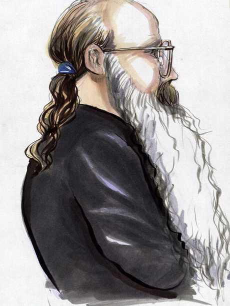 A court sketch of Alistair MacRae.
