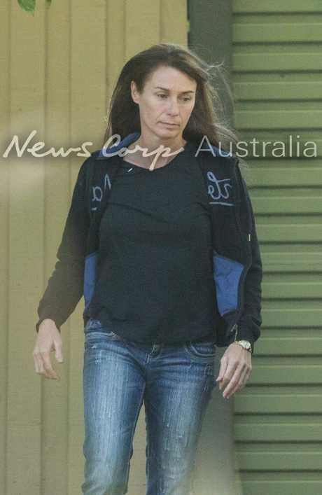 Yvette Nikolic outside a house in Port Melbourne after her prison release. Picture: Matrix for News Corp Australia