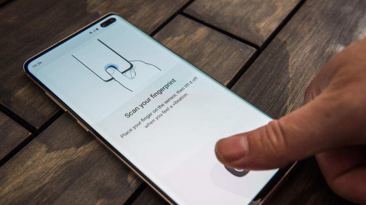 Samsung Galaxy S10 smartphones have an ultrasonic fingerprint sensor in the screen. Picture: Jennifer Dudley-Nicholson/ News Corp Australia