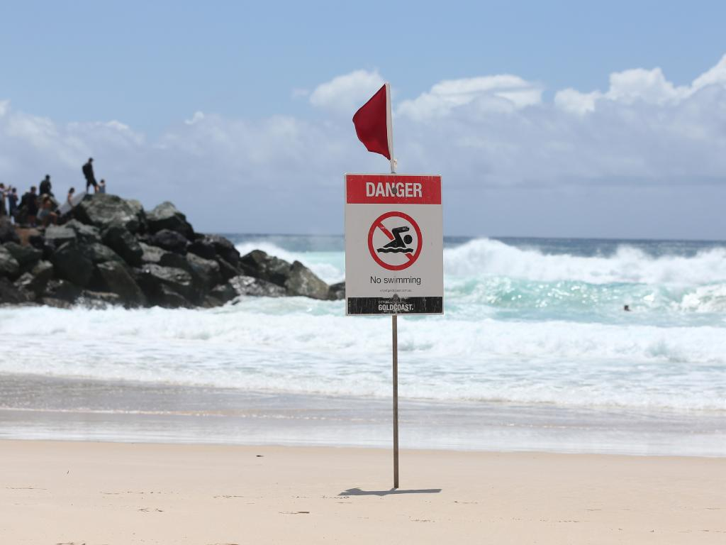 Coolangatta Beach on the southern Gold Coast is closed due to dangerous conditions yesterday. Picture: Chris Hyde/Getty Images