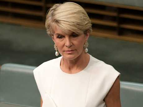 Julie Bishop made the shock announcement in parliament today. Picture: Tracey Nearmy/Getty