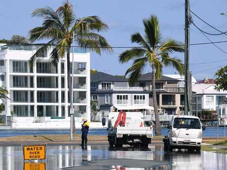 Flooding due to a king tide is seen on the Gold Coast. Picture: AAP