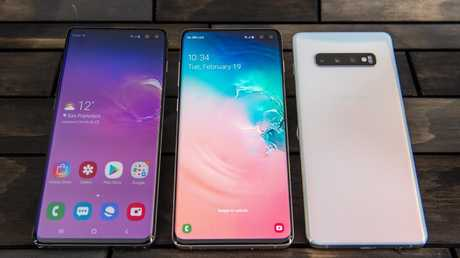 The Samsung Galaxy S10 smartphones will go on sale in March, with an S10 5G smartphone to follow before July. Picture: Jennifer Dudley-Nicholson/ News Corp Australia