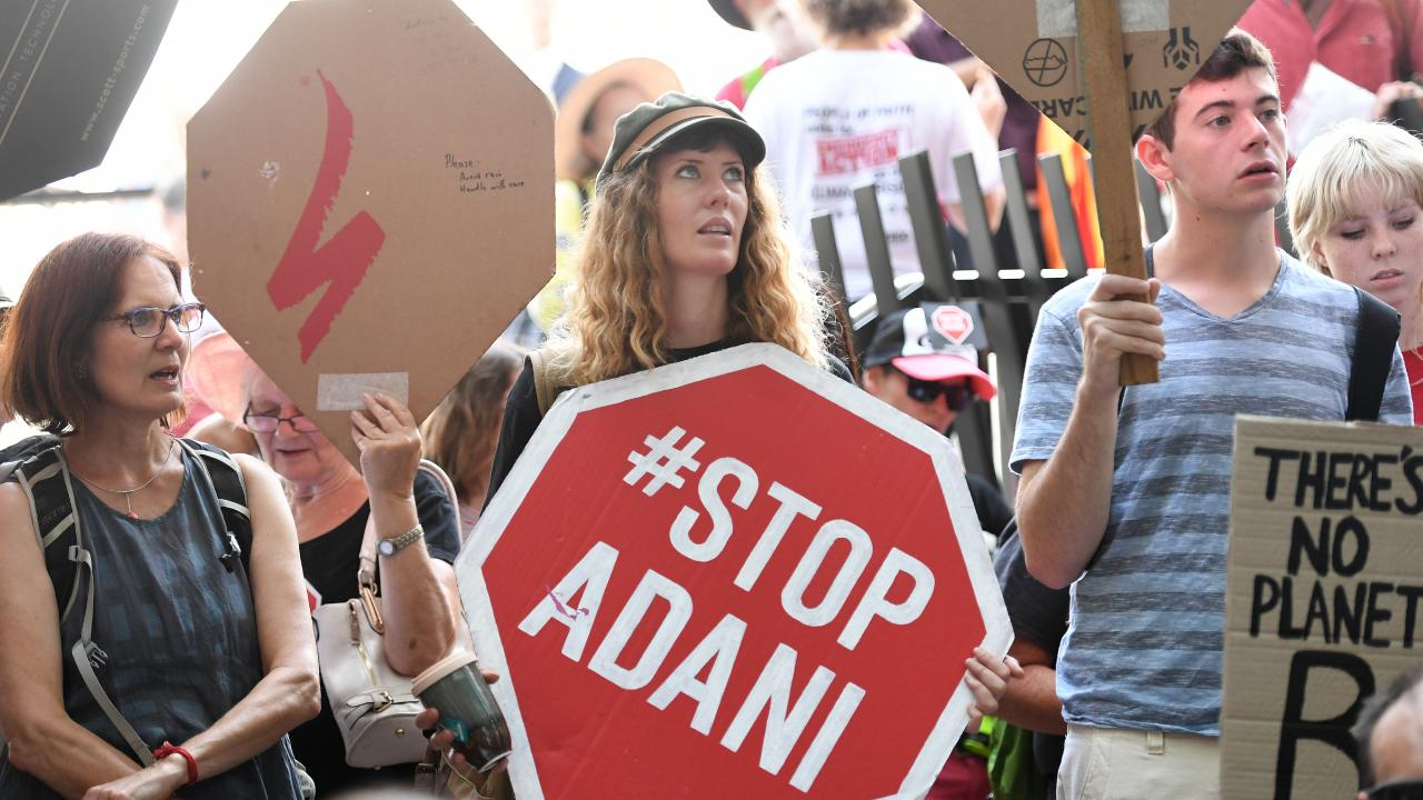 An anti-Adani protest outside State Government headquarters in Brisbane in December. Picture: Dan Peled/AAP