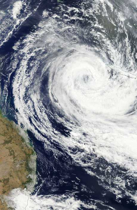Tropical Cylone Oma continues to move toward the Queensland coast. Picture: NASA/Eosdis Worldview
