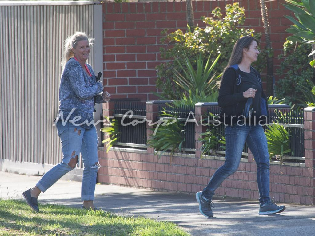 Yvettee Nikolic was seen outside the house with  her brother-in-law Danny Nikolic and his partner Tanya Hyett. Picture: Matrix for News Corp Australia
