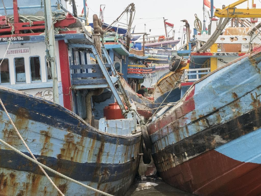 Boats in the port of Tegal, the kind that have been seen in Australian waters many times before. Indonesian intelligence suggests smugglers are trying to source cheap vessels from this busy shipyard on the north Java coast. Picture: Ardiles Rante/ News Corp Australia