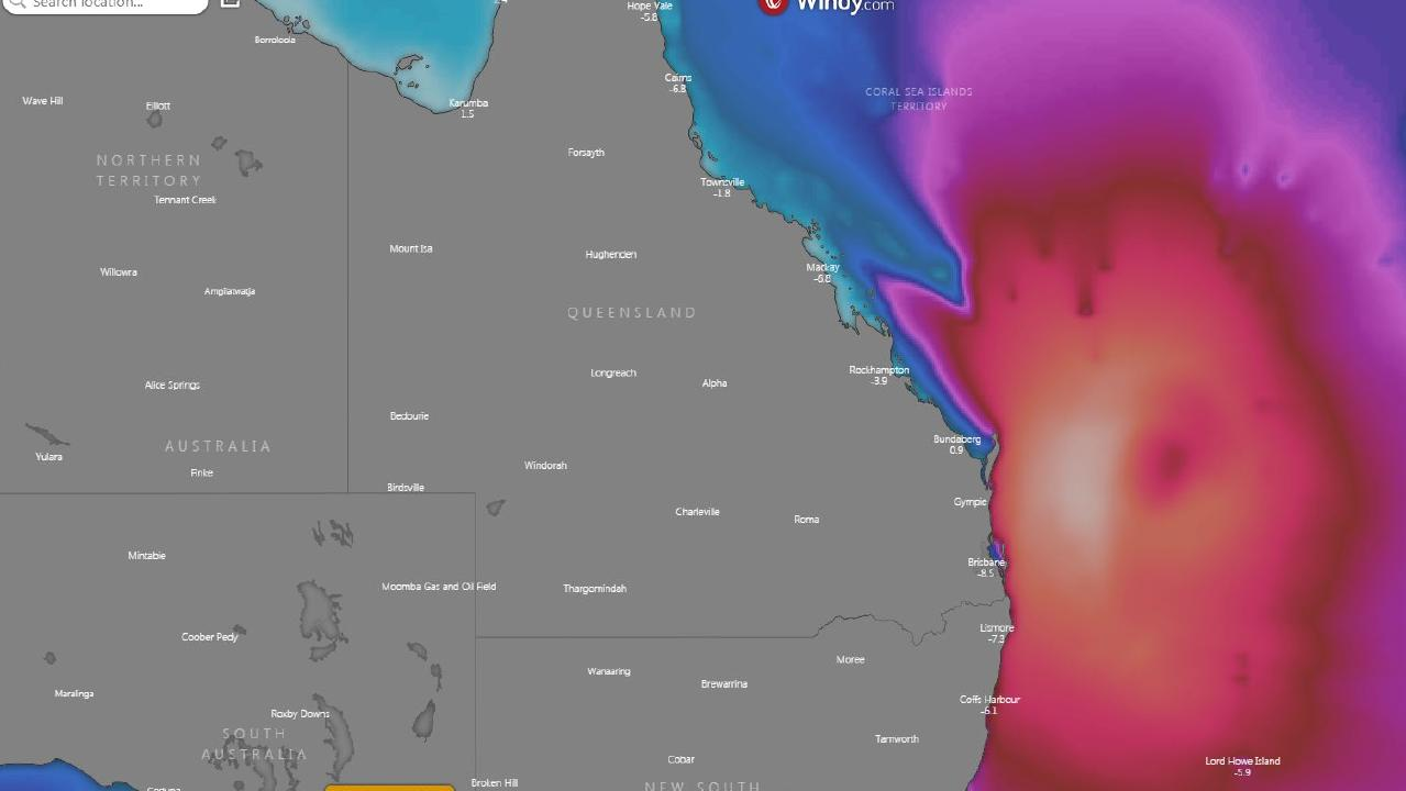 The projected wave height off the Queensland coast on Saturday. Picture: Windy