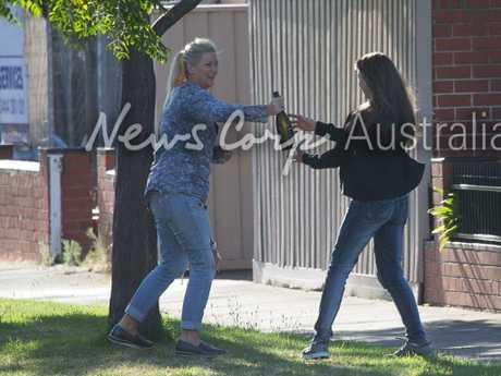 Tania Hyett and Yvette Nikolic outside the Port Melbourne house. Picture: Matrix for News Corp Australia