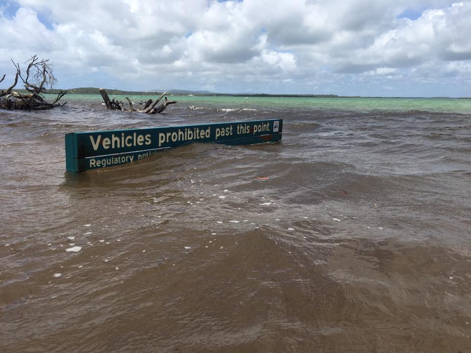 Troy Walton shared this picture to popular Facebook page I got bogged at Inskip Point. Campers are being told to leave the area with Tropical Cyclone Oma's arrival.