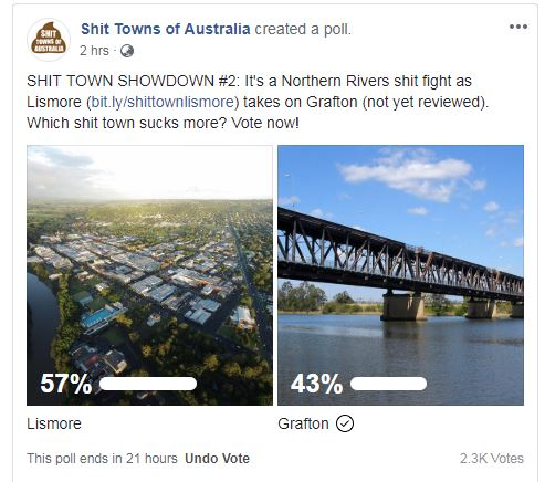 Who will be voted the sh*t town between Grafton and Lismore?